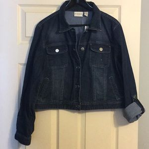 Chico's Dark Denim Jean Jacket with Silver Buttons